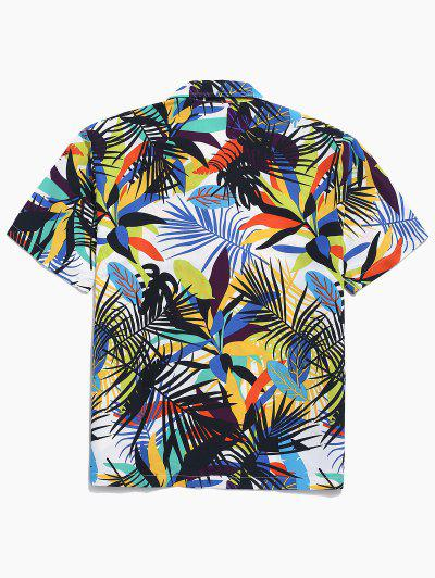 Zaful | WHITE Colorful Leaf Print Casual Beach Shirt | Clouty