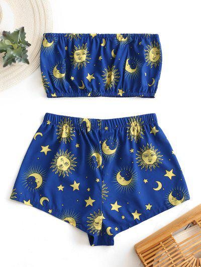 Zaful | BLUEBERRY BLUE ZAFUL Star Sun and Moon Bandeau Top And Shorts Set | Clouty