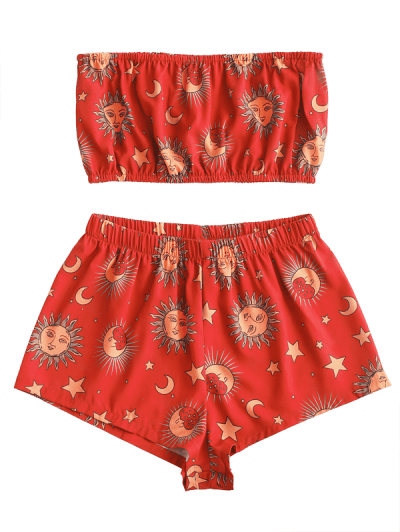 Zaful | LAVA RED ZAFUL Star Sun and Moon Bandeau Top And Shorts Set | Clouty