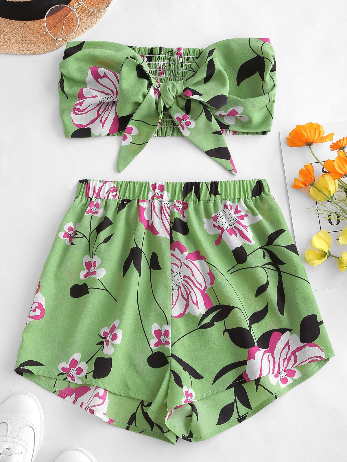 Zaful | GREEN PEAS ZAFUL Tie Front Floral Bandeau Top And Shorts Set | Clouty