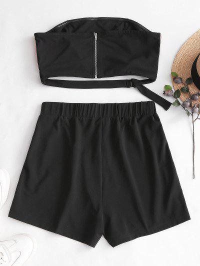 Zaful   BLACK ZAFUL Velvet Panel Side Buttoned Bandeau Top Set   Clouty