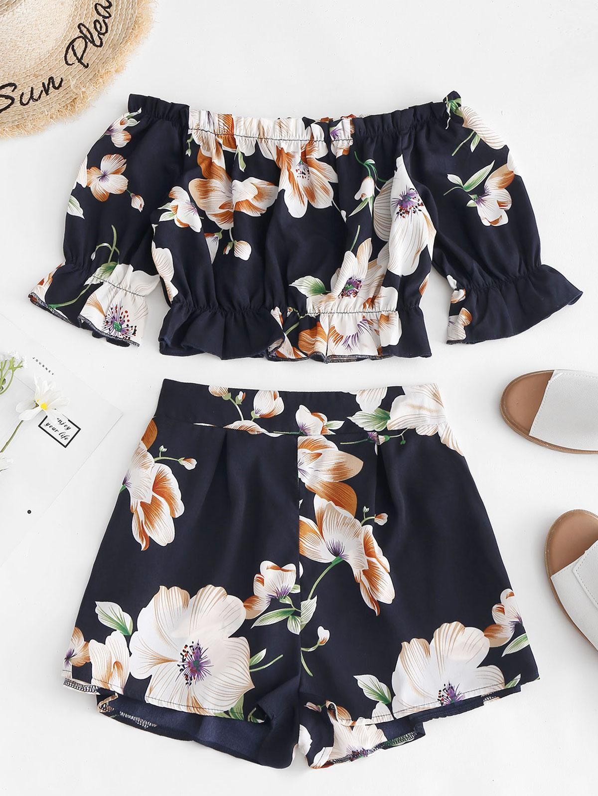 Zaful | DARK SLATE BLUE ZAFUL Cropped Floral Off Shoulder Top And Shorts Set | Clouty