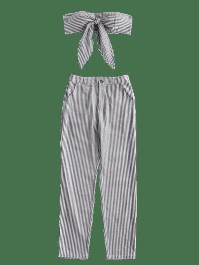 Zaful | BLACK ZAFUL Knot Shirred Striped Tube Top and Pants Set | Clouty