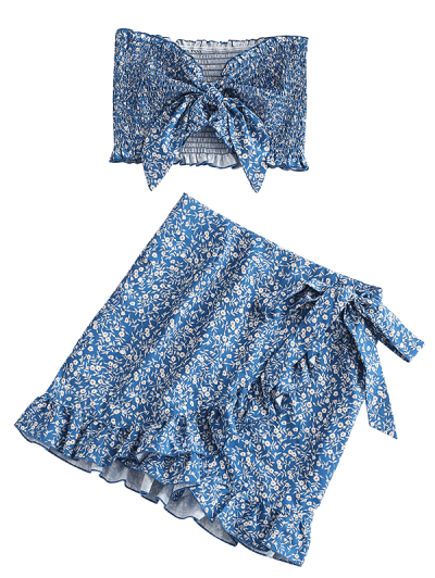 Zaful   BLUE Floral Smocked Bandeau Top And Ruffles Skirt Set   Clouty