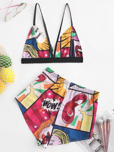 Zaful   MULTI ZAFUL Color Block Printed Cami Crop Top and Shorts Set   Clouty