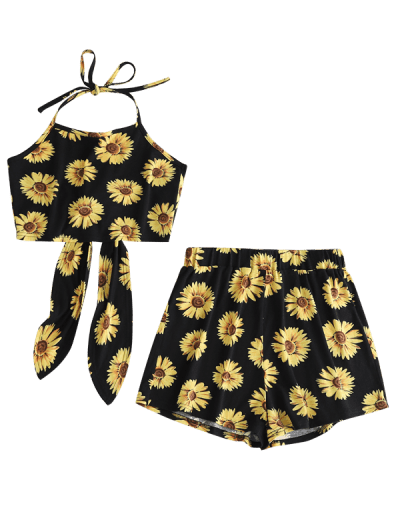 Zaful | BLACK ZAFUL Flower Print Halter Crop Top and Shorts Set | Clouty