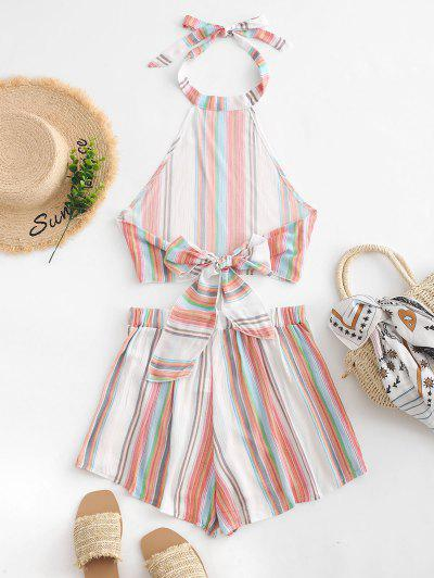 Zaful | MULTI-A Tied Back Cropped Stripes Top And Shorts Set | Clouty