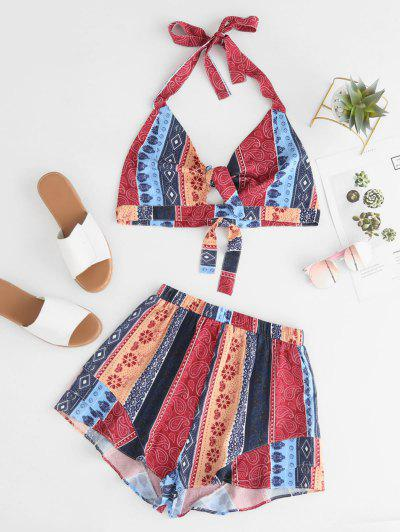 Zaful | MULTI ZAFUL Knotted Hippie Printed Bralette Top And Shorts Set | Clouty