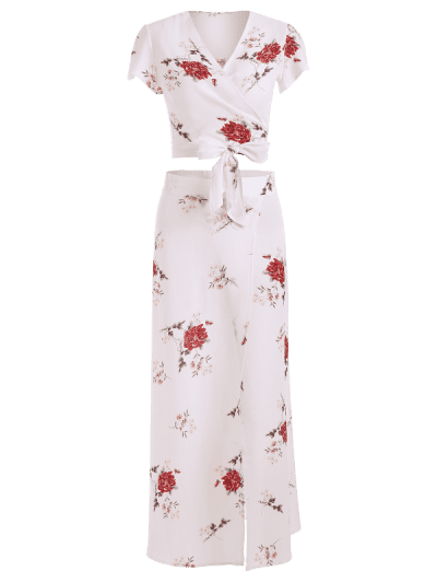 Zaful | WHITE Floral Print Tie Front Overlap Skirt Set | Clouty