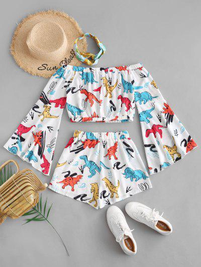 Zaful | WHITE Off Shoulder Flare Sleeve Dinosaur Top And Shorts Set | Clouty