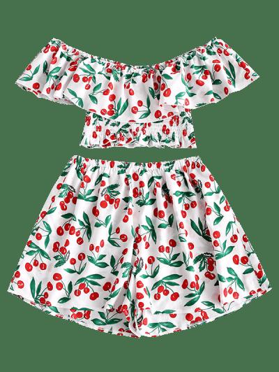 Zaful | WHITE ZAFUL Cherry Print Flounce Smocked Two Piece Set | Clouty