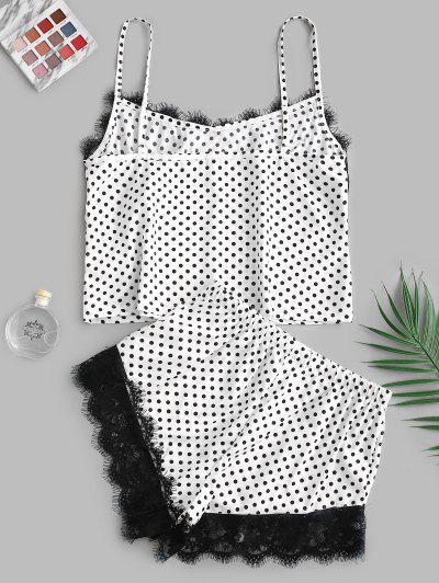 Zaful | MULTI-A Polka Dot Lace Insert Pajama Shorts Set | Clouty