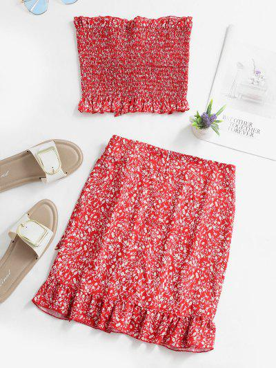 Zaful | RED Floral Smocked Bandeau Top And Ruffles Skirt Set | Clouty