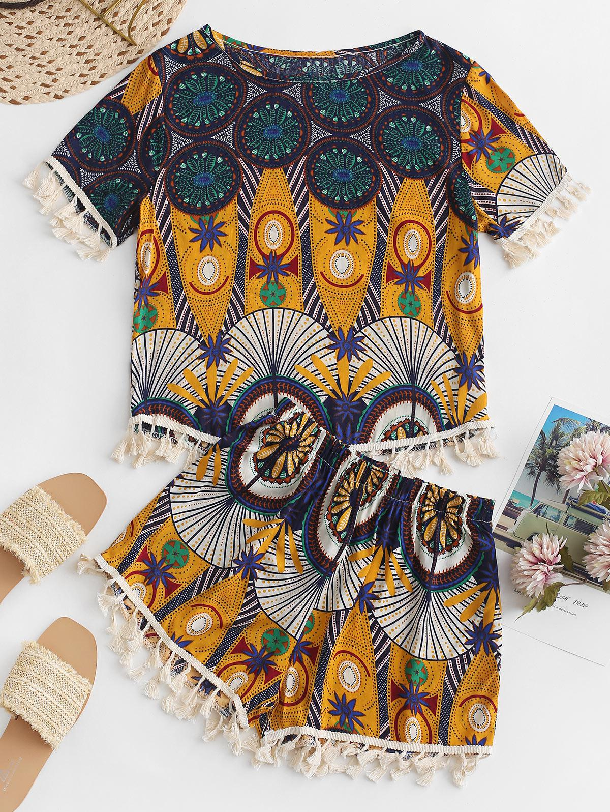 Zaful | MULTI-A Ethnic Print Tassel Loose Shorts Set | Clouty