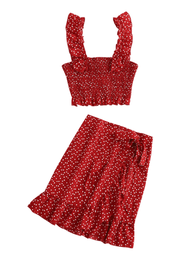 Zaful | RED WINE ZAFUL Heart Ruffle Smocked Skirt Co Ord Set | Clouty