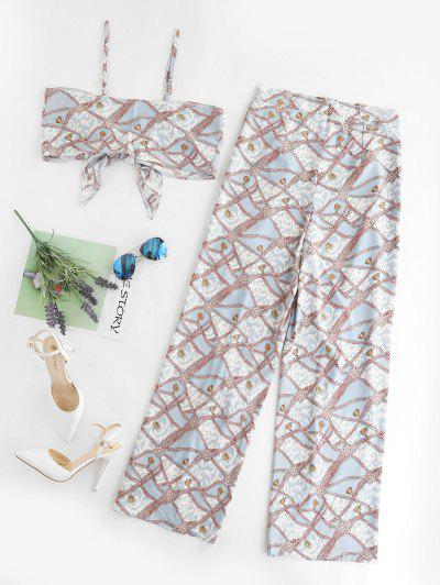 Zaful   MULTI Cropped Printed Tie Front Overlap Two Piece Set   Clouty