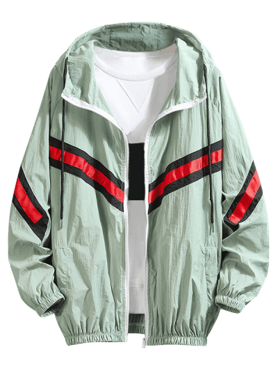 Zaful   GREEN Color Block Splicing Striped Sunproof Raglan Sleeve Hooded Jacket   Clouty