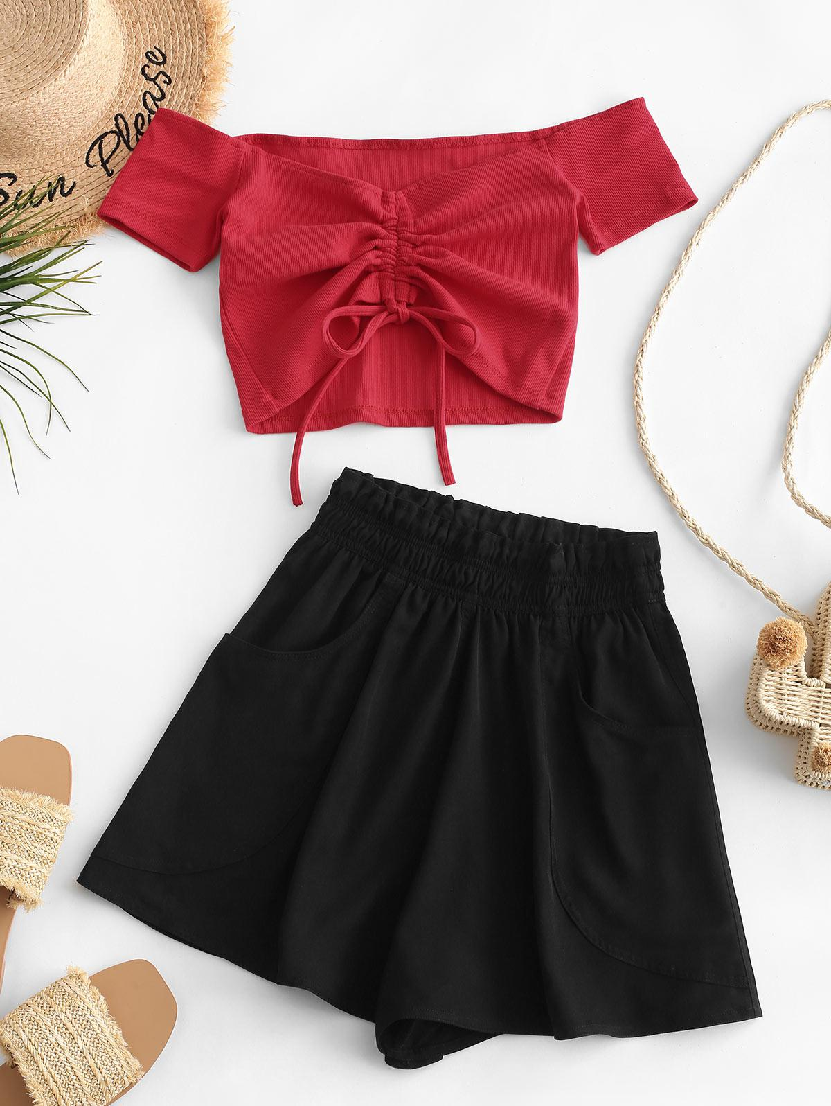 Zaful | RED Cinched Off Shoulder Ribbed Paperbag Shorts Set | Clouty
