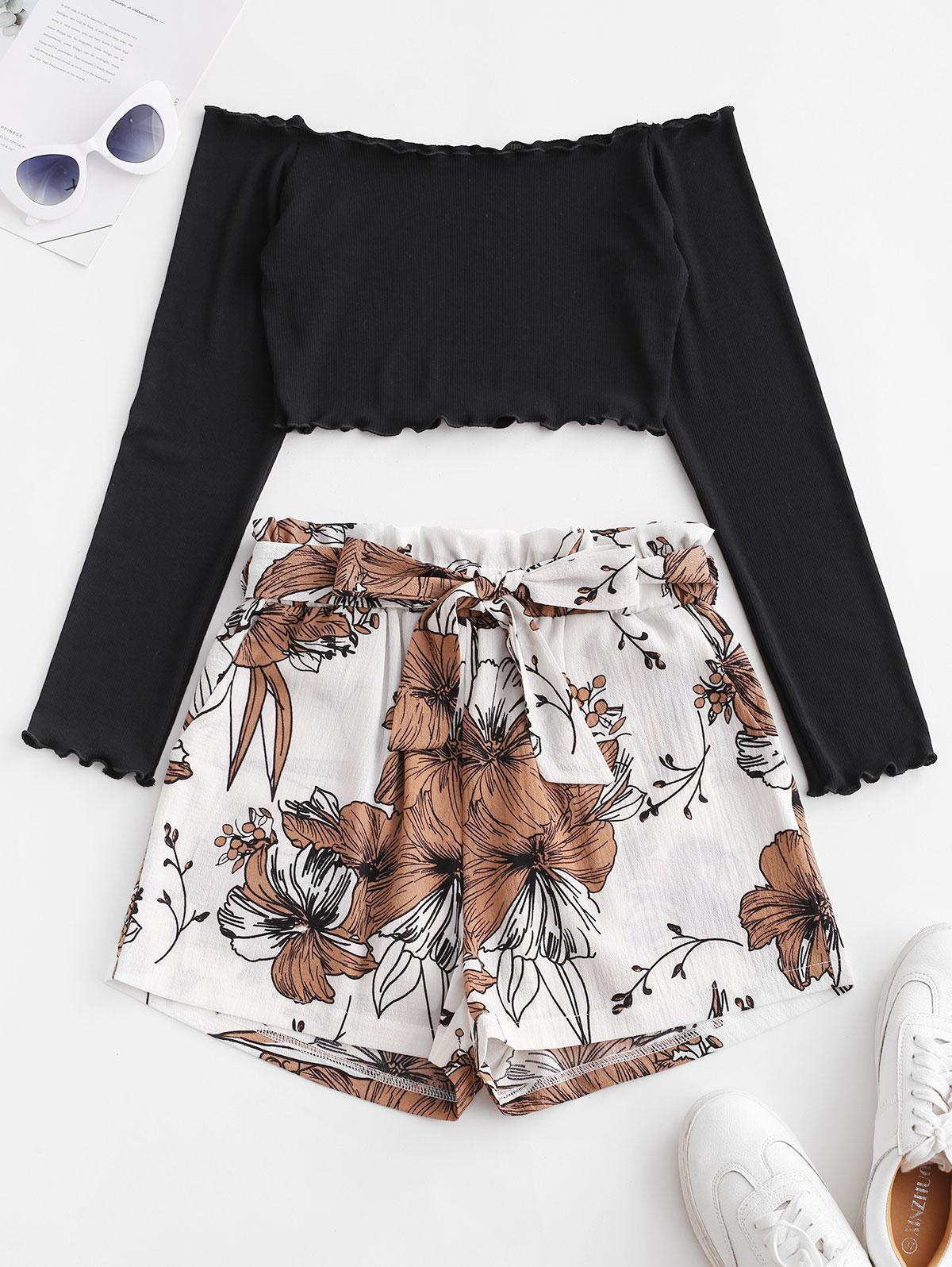 Zaful | MULTI-A ZAFUL Ribbed Floral Off Shoulder Paperbag Shorts Set | Clouty