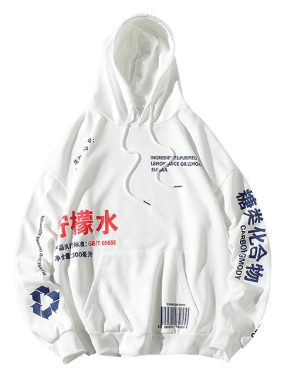 Zaful | WHITE Chinese Lemonade Production Label Graphic Drop Shoulder Hoodie | Clouty