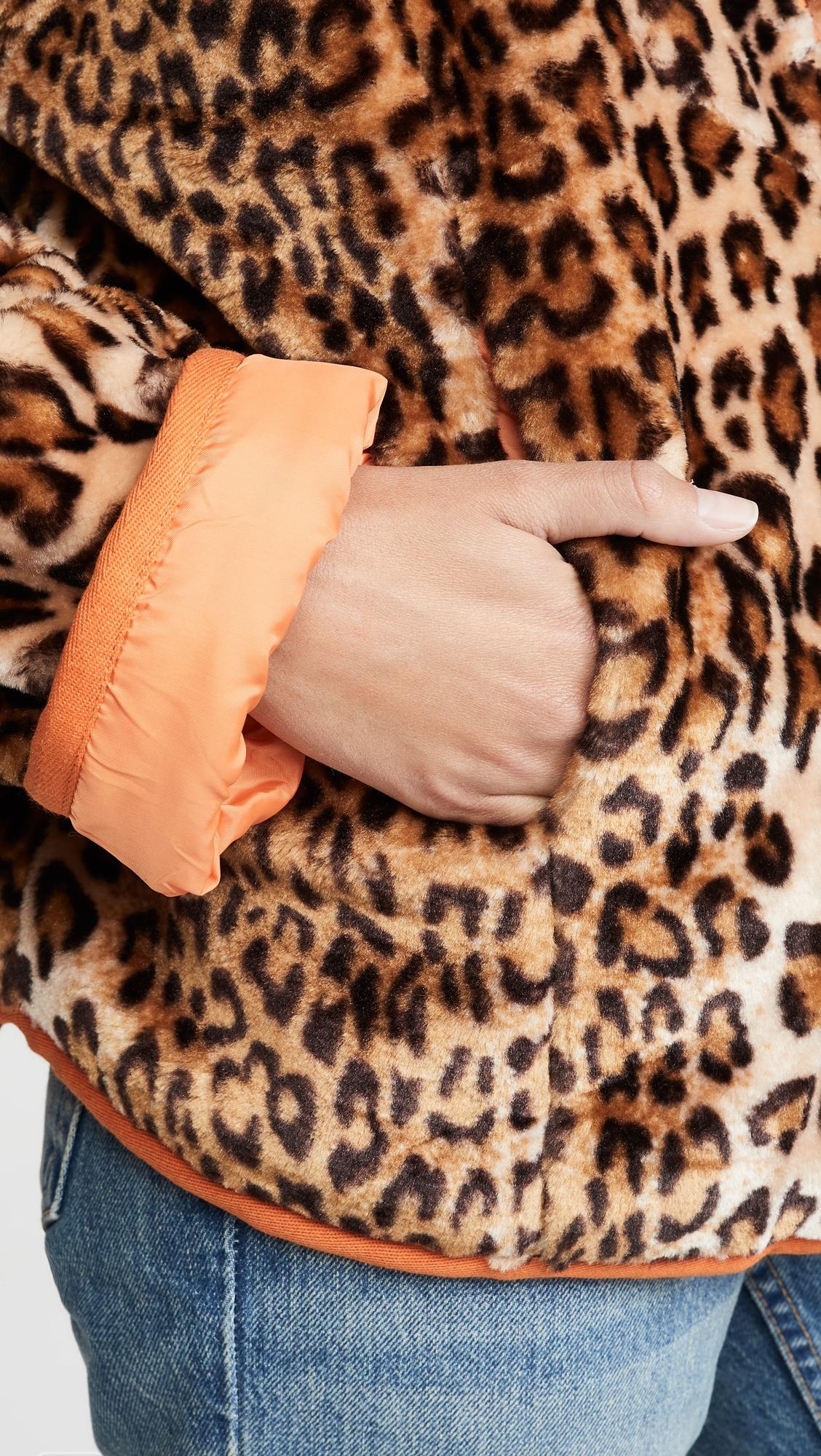 J.O.A.   J.O.A. Leopard Half Zip Jacket   Clouty