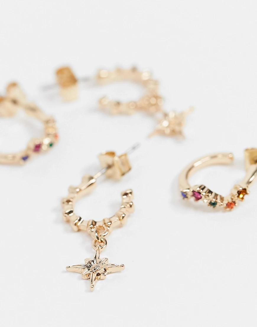Pieces | 2 пары золотистых серег-колец с камнями и звездами Рiесеs-Золотой | Clouty
