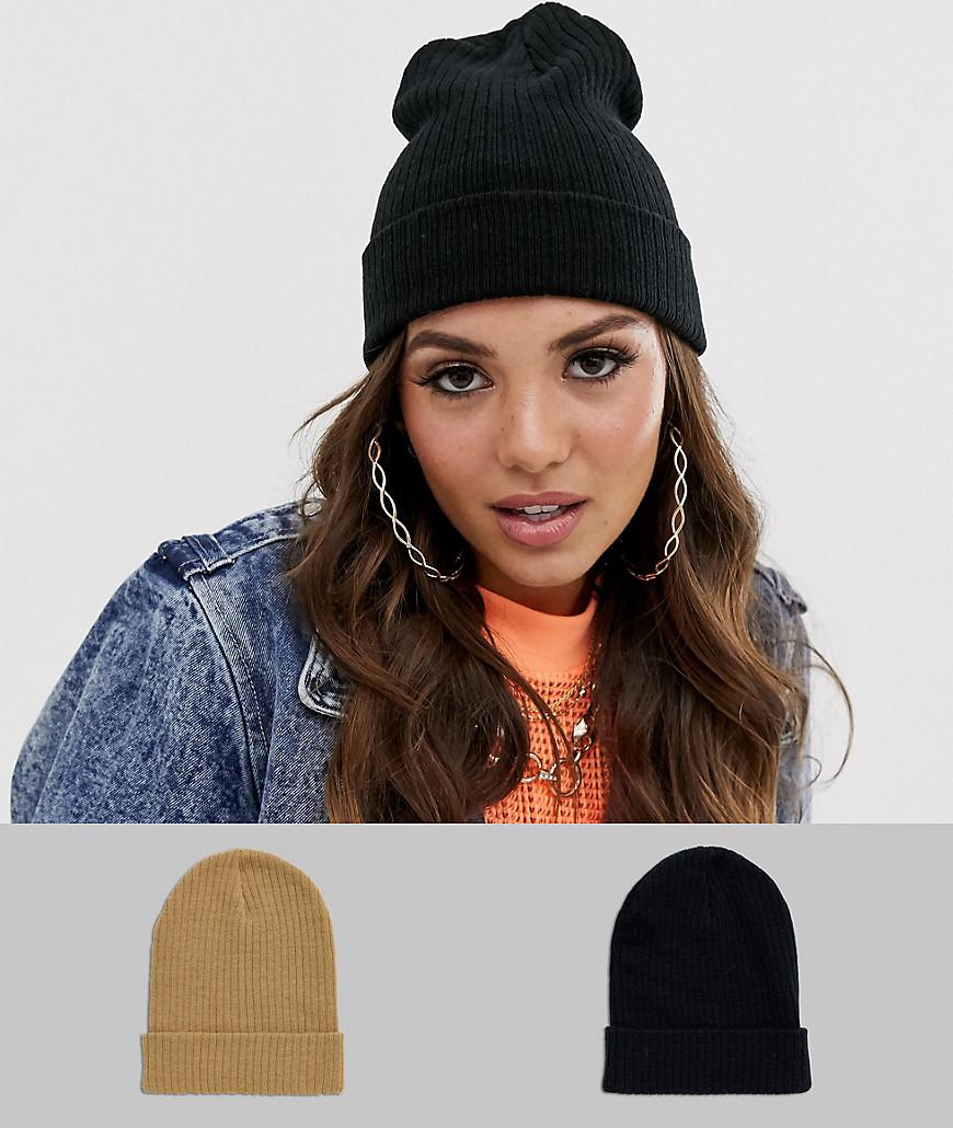 ASOS | 2 шапки-бини черного и бежевого цвета ASOS DESIGN-Мульти | Clouty