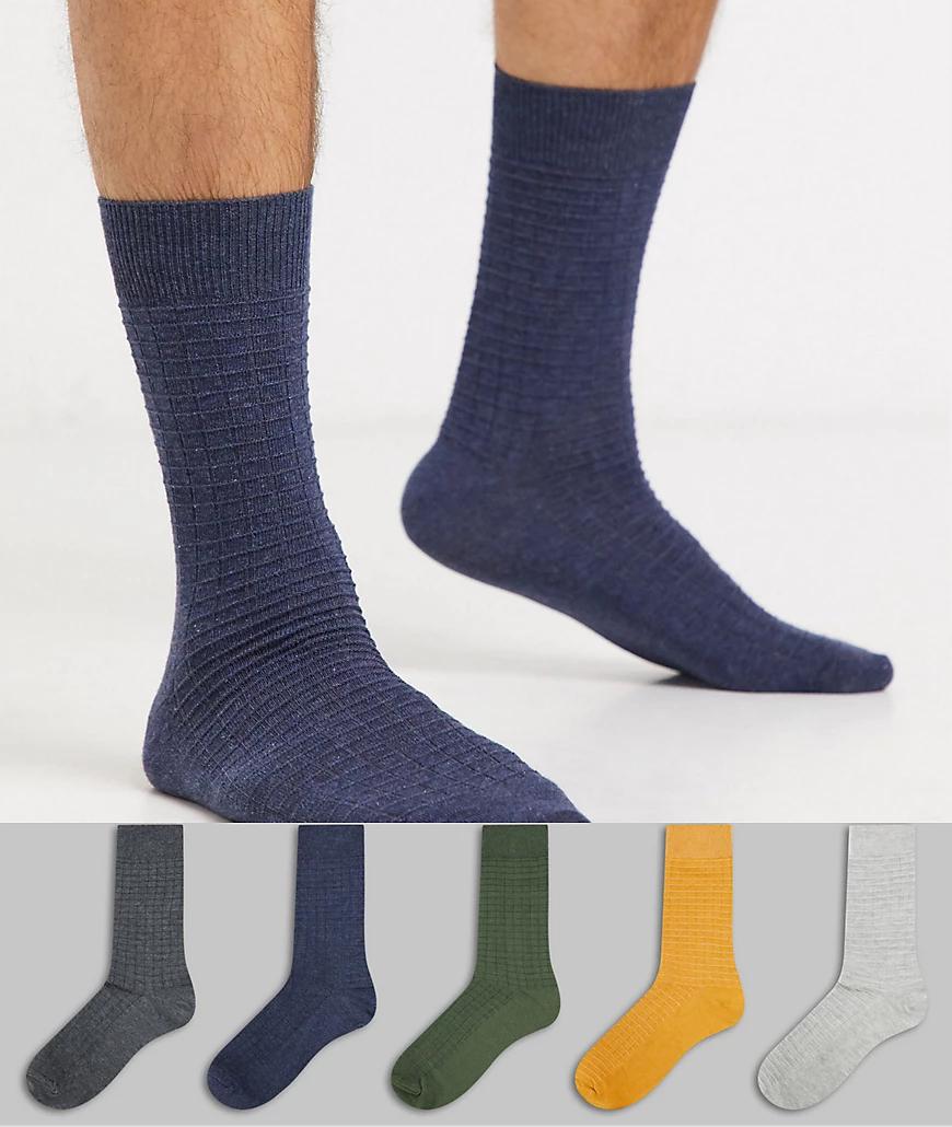 Topman   5 пар разноцветных носков в рубчик Topman-Мульти   Clouty