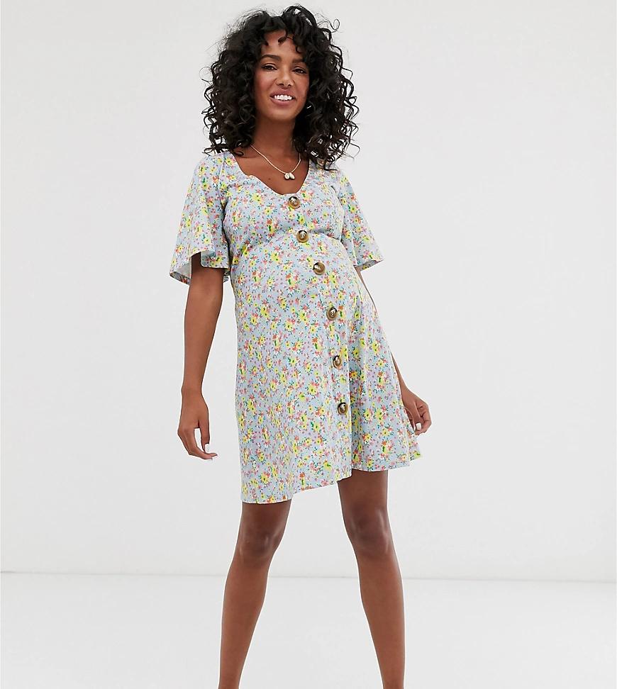 ASOS DESIGN | Чайное платье мини с цветочным принтом и завязкой сзади ASOS DESIGN Maternity-Myльтu | Clouty