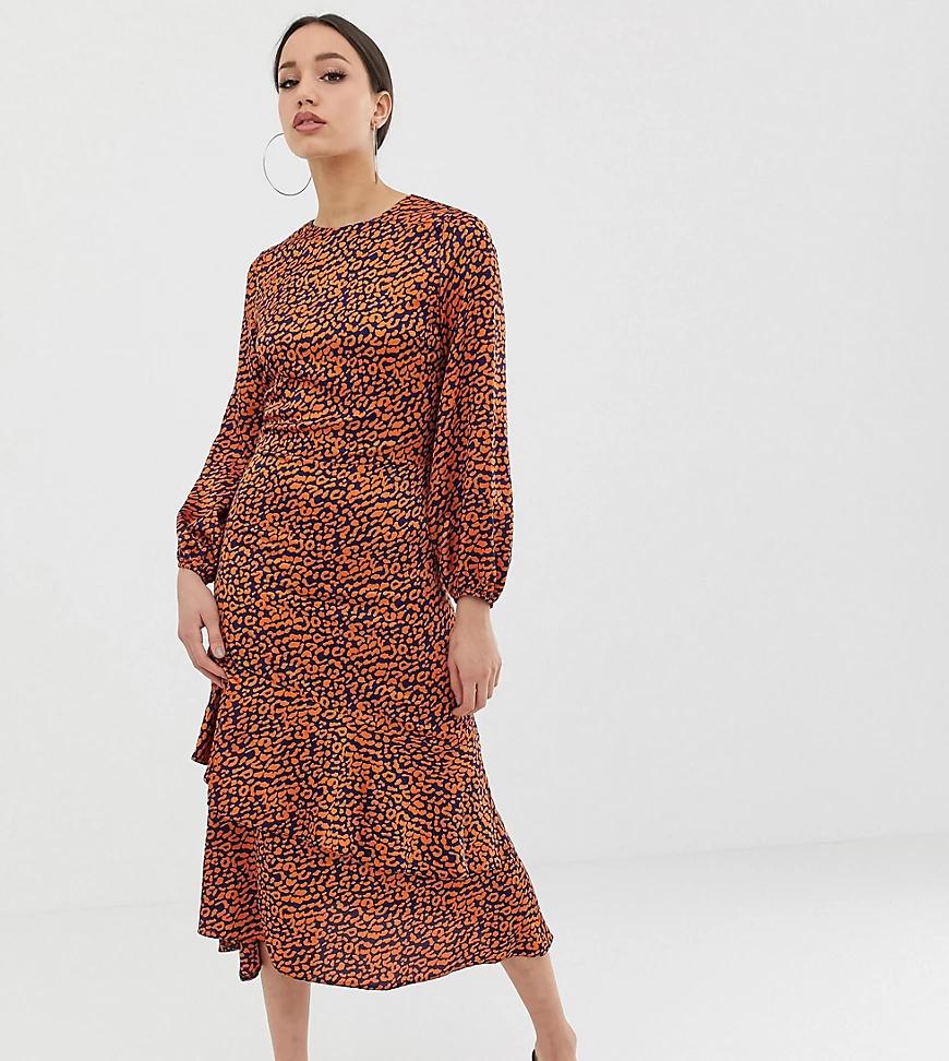 John Zack   Чайное платье миди с контрастным леопардовым принтом John Zack Таll-Мульти   Clouty