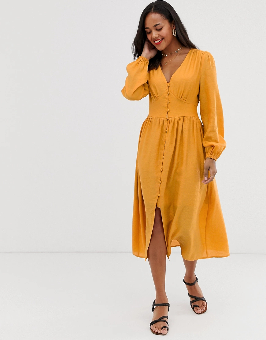 Glamorous | Чайное платье миди со складками на юбке Glamorous-Жeлтый | Clouty