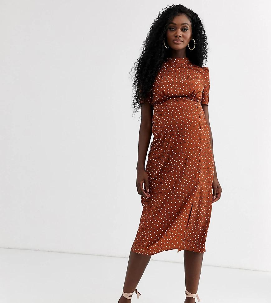 ASOS DESIGN | Чайное платье миди в горошек с пуговицами ASOS DESIGN Maternity-Myльтu | Clouty