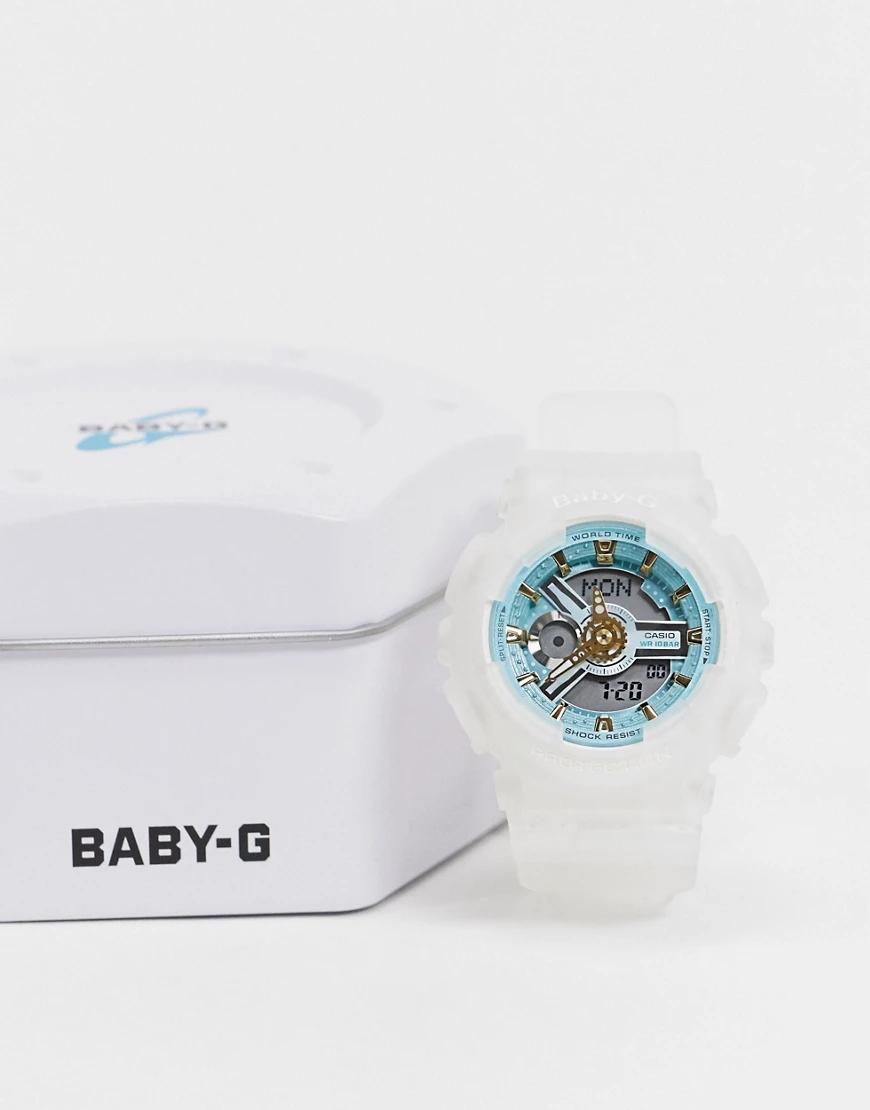 Casio | Часы с белым ремешком Casio Baby G BA-110SC-7AER-Бeлый | Clouty