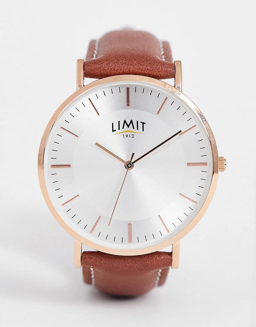 Limit   Часы с коричневым ремешком из искусственной кожи Limit-Коричневый   Clouty