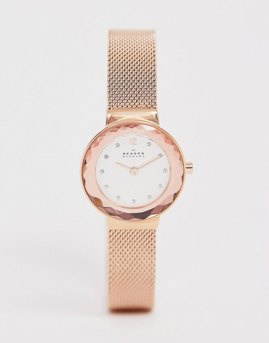Skagen Denmark | Часы с сетчатым браслетом Skagen SKW2799 Leonora 25 мм-Золотой | Clouty