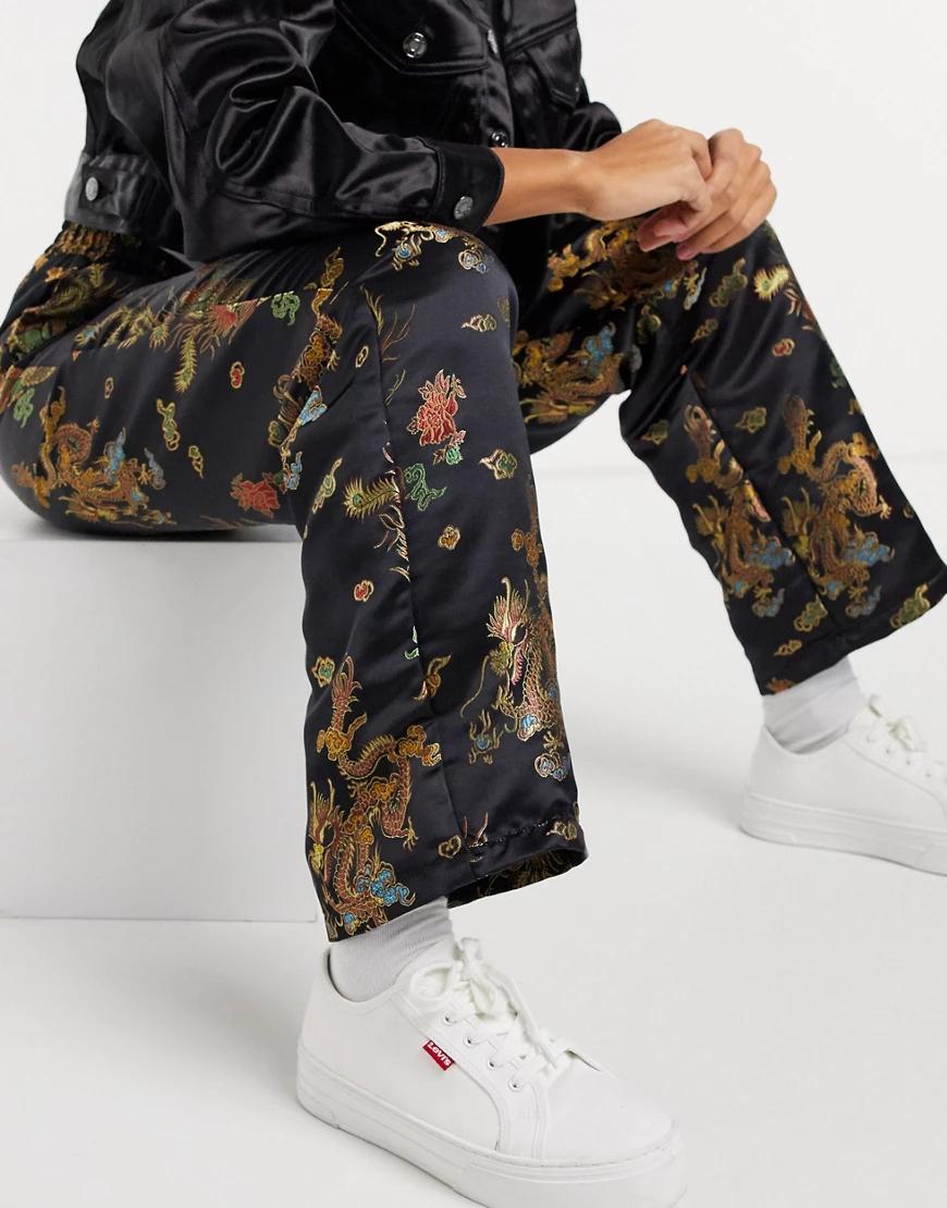ASOS DESIGN | Черные жаккардовые брюки без застежек от комплекта ASOS DESIGN-Черный | Clouty