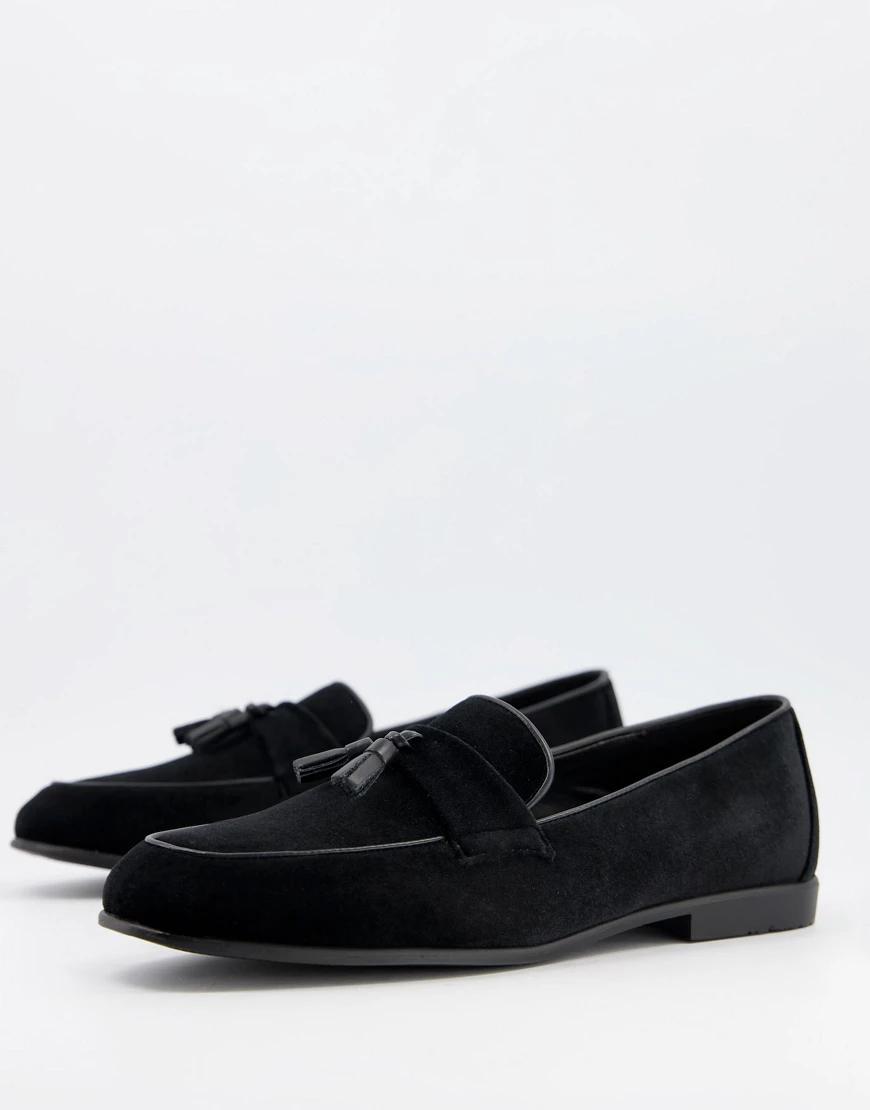 Topman | Черные бархатные лоферы Topman-Черный цвет | Clouty