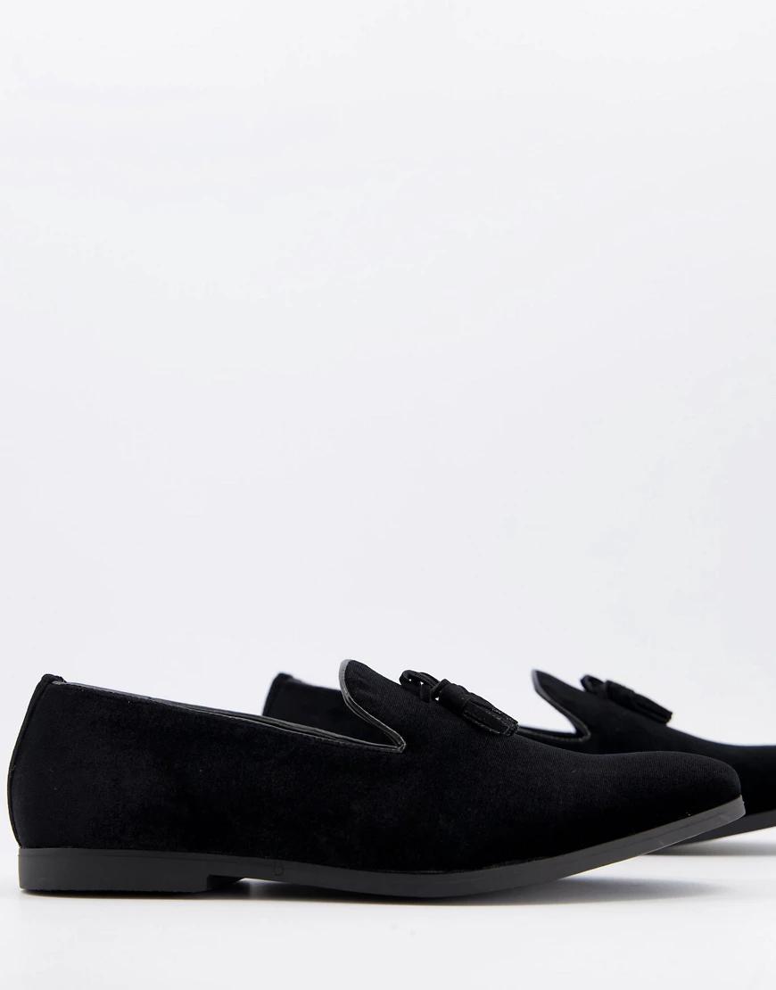Truffle Collection | Черные бархатные слиперы с кисточками Truffle Collection-Чepный цвет | Clouty
