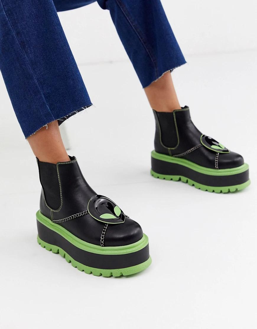 Koi Footwear | Черные ботинки из искусственной кожи на массивной подошве с зеленой окантовкой Koi Footwear-Чepный | Clouty