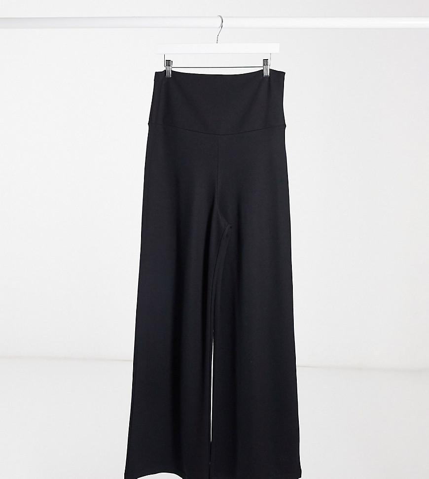 Gebe Maternity | Черные брюки с широкими штанинами и посадкой над животом GeBe Maternity-Чepный | Clouty