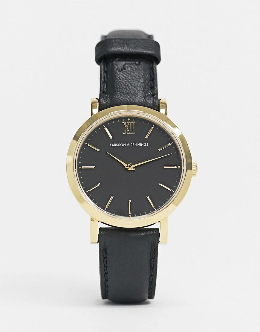 Larsson & Jennings | Черные часы 33 мм с кожаным ремешком Larsson & Jennings-Чepный | Clouty