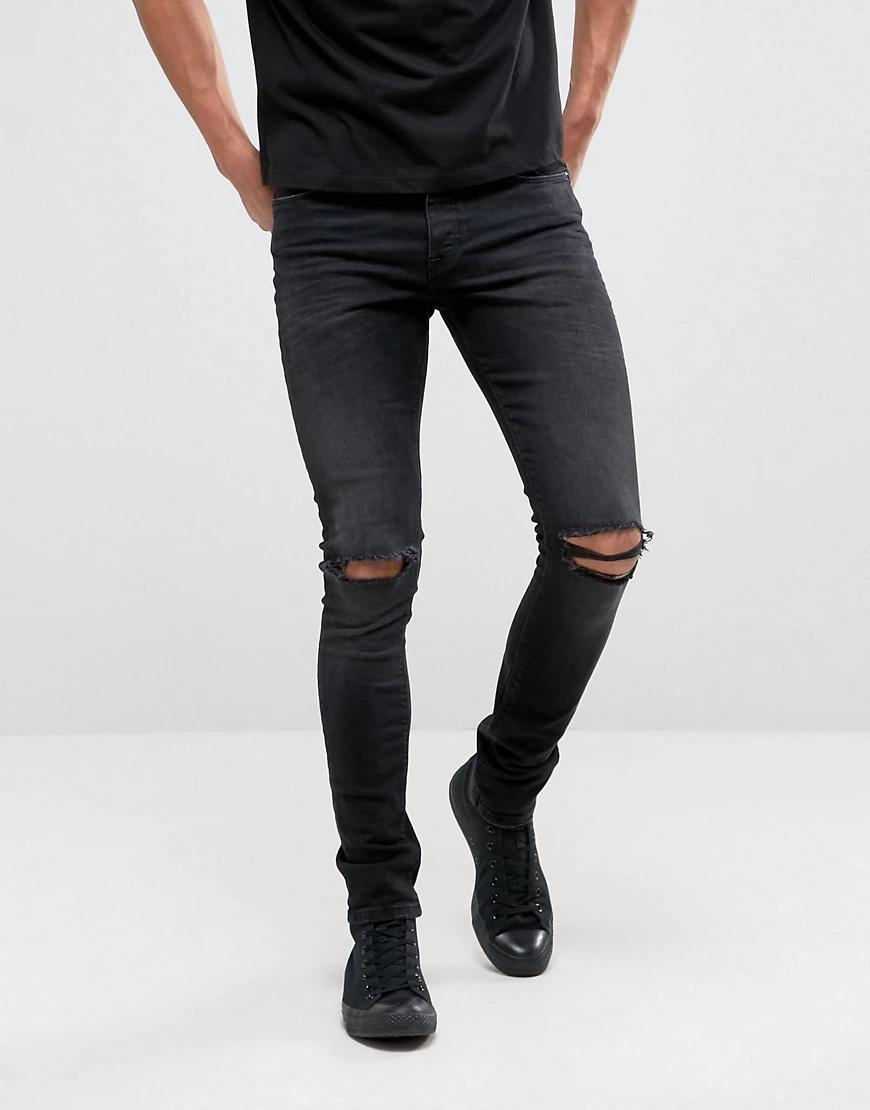 ASOS | Черные джинсы скинни плотностью 12,5 унций с рваной отделкой ASOS DESIGN-Черный | Clouty