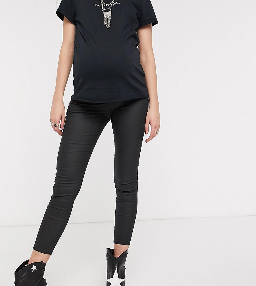 TOPSHOP   Черные джинсы скинни с посадкой над животом и покрытием Topshop Maternity-Чepный   Clouty
