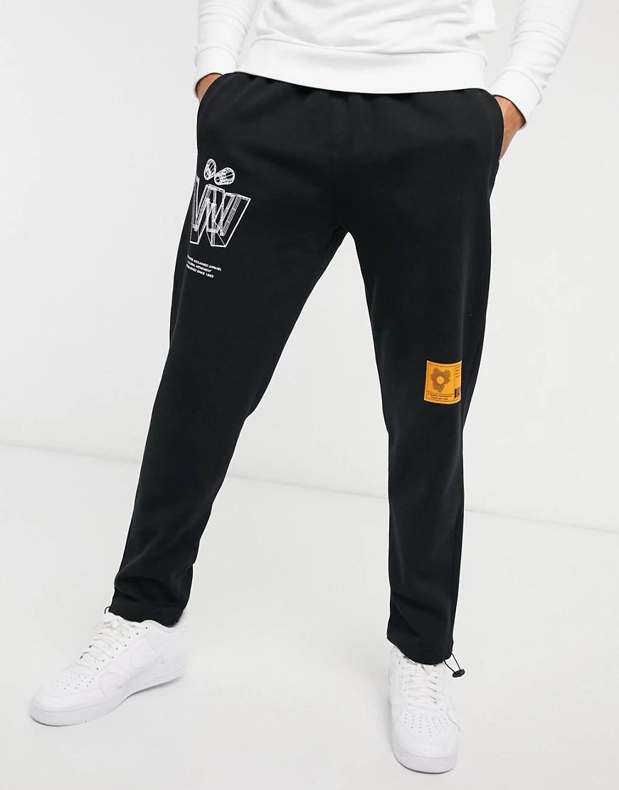 Topman | Черные джоггеры с эластичными шнурками и принтом Topman-Черный | Clouty