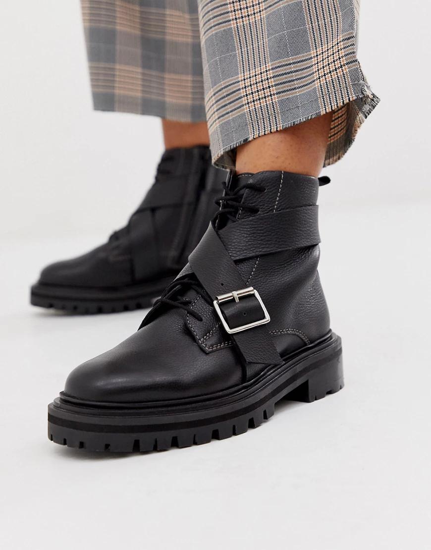 ASOS DESIGN | Черные кожаные ботинки на массивной подошве со шнуровкой ASOS DESIGN Agility premium-Чepный | Clouty
