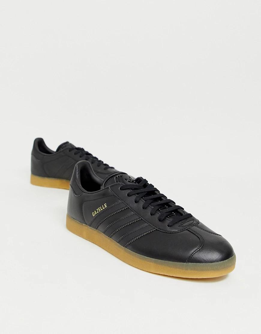 adidas Originals   Черные кожаные кроссовки adidas Originals gazelle-Чepный   Clouty