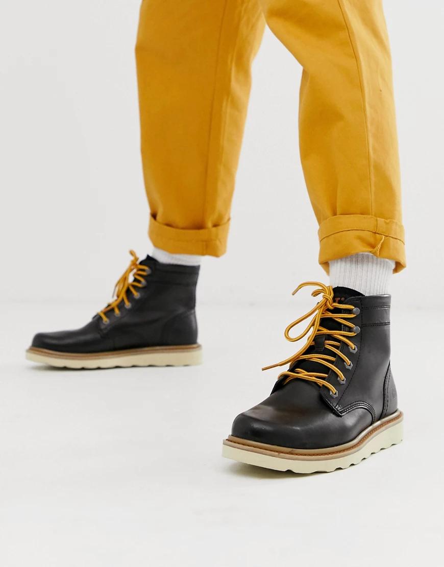 Cat | Черные кожаные походные ботинки Caterpillar chronicle-Чepный | Clouty