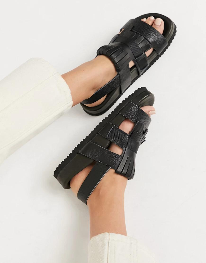 Selected   Черные кожаные сандалии Selected Fеmmе-Черный цвет   Clouty
