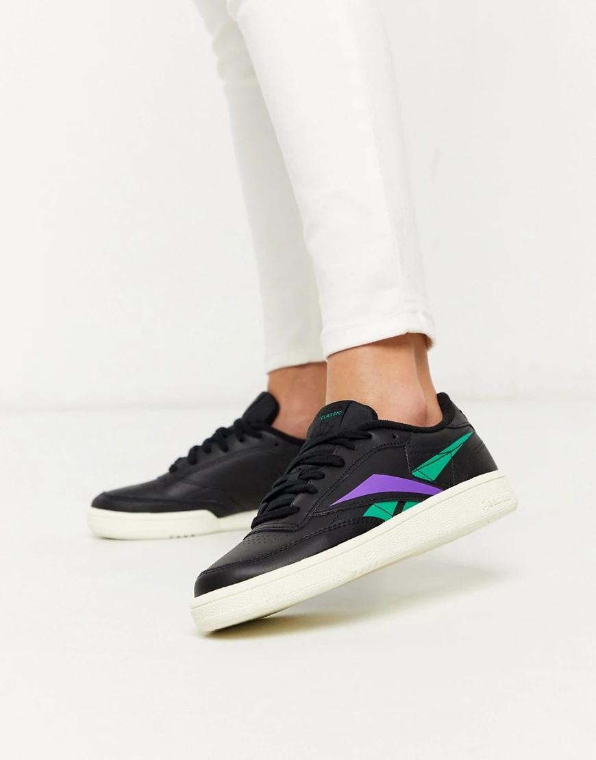REEBOK | Черные кроссовки с зеленой и фиолетовой вставкой Reebok Club Classic 85-Черный | Clouty