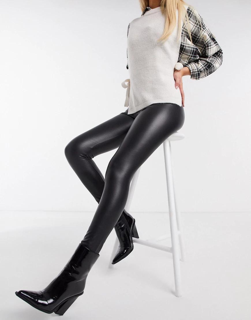 Hollister | Черные леггинсы из искусственной кожи с высокой линией талии Hollister-Чepный | Clouty